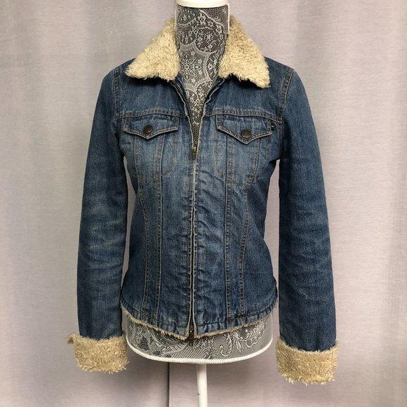 Abercrombie & Fitch Denim Jacket w/ Sherpa Size S